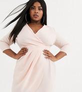 Asos DESIGN Curve mini dress with wrap skirt