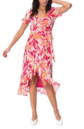 Leota Rose Faux Wrap Asymmetrical Dress