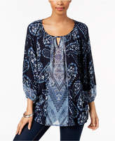 Style and Co Printed Keyhole Top, Created for Macy's