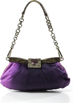 Prada Purple Tessuto Ombre Lizard Trim Evening Handbag