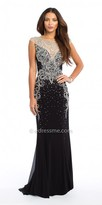 Camille La Vie Cap Sleeve Chiffon Beaded Illusion Evening Dress