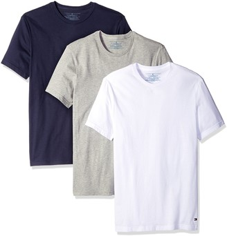 Tommy Hilfiger Men's Undershirts 3 Pack Cotton Classics Crew Neck T-Shirt White/Grey Heather/Navy Medium
