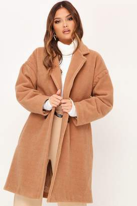 I SAW IT FIRST Camel Button Front Formal Coat