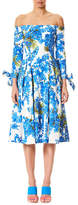 Carolina Herrera Off-the-Shoulder Floral-Print Tie-Sleeves Midi Day Dress