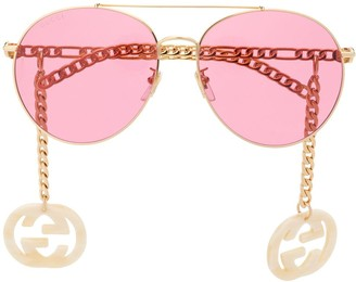 Gucci 623842I3330 aviator-frame sunglasses