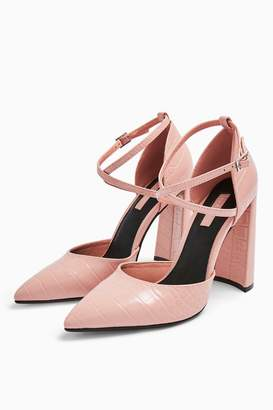 Topshop Womens **Wide Fit Grape Pink Flared Heeled Shoes - Pink