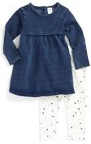 Nordstrom Infant Girl's French Terry Dress & Dot Leggings Set