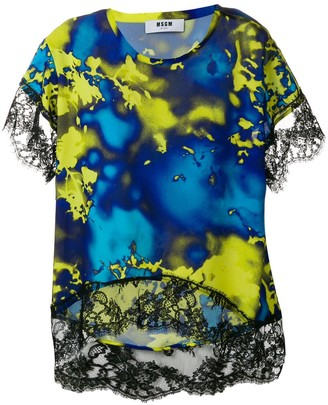 MSGM Patterned Lace Top