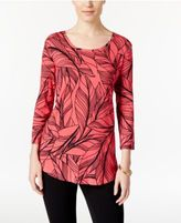 JM Collection Petite Leaf-Print Top, Only at Macy's