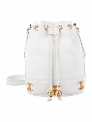 Chanel Vintage Caviar Bucket Bag White