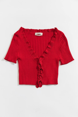Urban Outfitters Rory Ruffle Cropped Cardigan