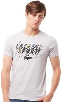 Lacoste Mens Sport Tennis Jersey Graphic T-Shirt Silver Chine/Black Orchid