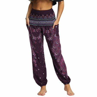 Nuofengkudu Women's Hippie Baggy Harem Trousers Smocked High Waist Soft Bohemian Print Thai Aladin Yoga Pants with Pockets Holiday Party Beachwear (Green A One Size)
