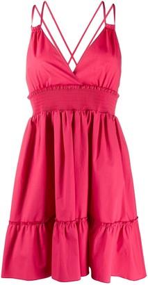 RED Valentino Smocked Waist Mini Dress