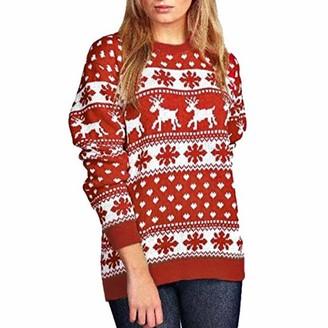 waitFOR Women Christmas Snowflake Dot Elk Printing Knitting Sweater Tops Ladies Xmas Long Sleeve Round Neck Thick Blouse Teen Girls Winter Pullover Jumper Sweatshirt