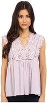 Rebecca Taylor Sleeveless Stitched Square Embroidery Top