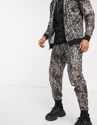 ASOS DESIGN two-piece slim sweatpants in sheer metallic leopard print