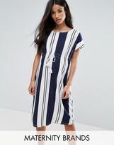 Mama Licious Mama.licious Mamalicious Striped Shift Dress With Drawstring Detail