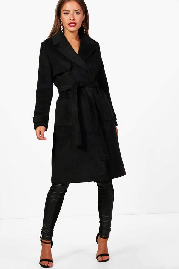boohoo Petite Military Style Wool Look Trench