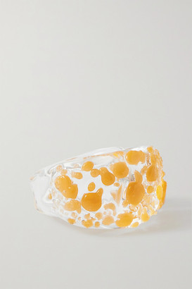 Maryam Nassir Zadeh Wave Glass Ring - Saffron