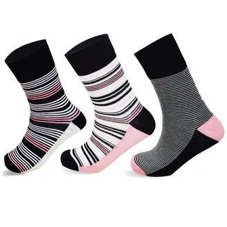 Socksology 6 Pairs Womens Bamboo Socks HoneyComb Grip Top Eco-friendly Antibacterial Anti Odor Breathable Moisture Wicking Crew Sock Size UK 4-8 (Multi Stripe Pink/Black 6 Pairs)