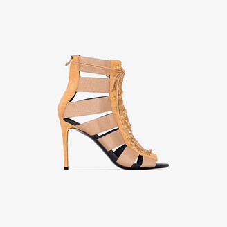 Balmain brown Lindsay 70 suede and canvas sandals