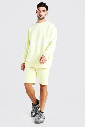boohoo Mens Yellow Official Ltd. Edition Short jumper Tracksuit, Yellow