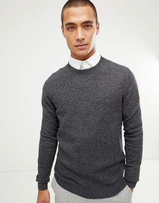 Asos Design DESIGN lambswool sweater in charcoal-Gray