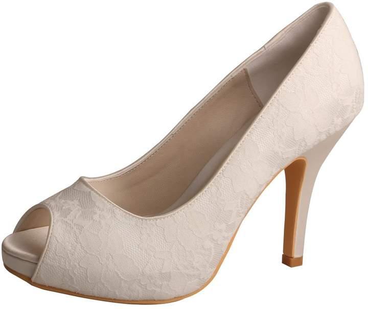 56dd984dd82 Wedopus MW529 Women's Open Toe Platform High Heel Lace Bride Wedding Shoes  Size 7