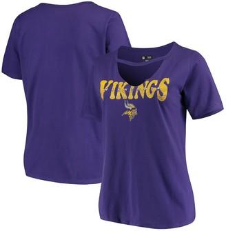 New Era Women's Purple Minnesota Vikings Plus Size Baby Jersey V-Neck Choker T-Shirt