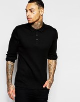 Asos Long Sleeve Extreme Muscle Jersey Ribbed Polo In Black