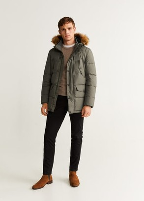 MANGO MAN - Detachable faux-fur water-repellent anorak khaki - S - Men