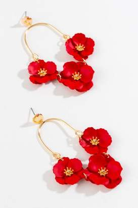 francesca's Celina Flower Chandelier Earrings in Red - Red