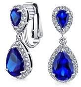 Bling Jewelry Crown Set Blue Cz Double Teardrop Bridal Clip On Earrings Rhodium Plated Brass.