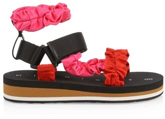 Midnight 00 Ruched Colorblock Satin Sport Sandals