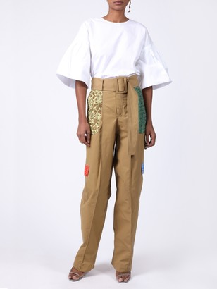 Rosie Assoulin High Waisted Patchwork Cargo Trousers