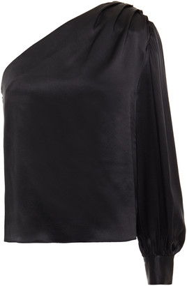 Frame One-shoulder Pleated Silk-satin Top
