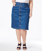 Style&Co. Style & Co Plus Size Button-Front Denim Skirt, Created for Macy's