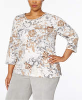 Alfred Dunner Plus Size Eskimo Kiss Collection Embellished-Neck Top