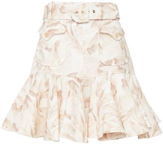 Zimmermann Super Eight Safari Fluted Belted Printed Linen Mini Skirt