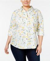 Karen Scott Plus Size Cotton Printed Tab-Sleeve Shirt, Created for Macy's