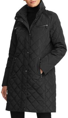 Lauren Ralph Lauren Faux Leather Trim Quilted Coat