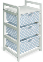 Badger Basket Three-drawer White with Blue Polka Dots Hamper/ Storage Unit
