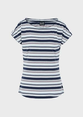 Ea7 Jersey T-Shirt With Contrasting Stripes