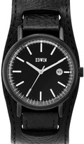 EDWIN Watch Black Leather Cuff Band With Black Dial Epic
