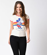 Mighty Fine Mightyfine Retro Style Cream Cotton Knit Mickey Mouse Short Sleeve Top