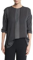 Vince Striped Silk Long-Sleeve Top, Black/Chalk