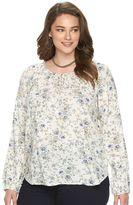 Chaps Plus Size Floral Raglan Peasant Top