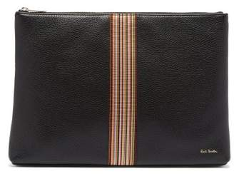 Paul Smith Signature Stripe Grained Leather Pouch - Mens - Black