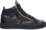 Giuseppe Zanotti Kriss camo-print canvas and leather mid-top trainers